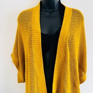 Yellow Knitted  Open Cardigan